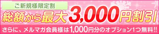 ご新規様限定割 最大3000円割引